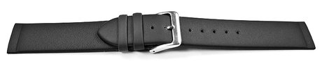 Screw Type Black Leather Watch Strap