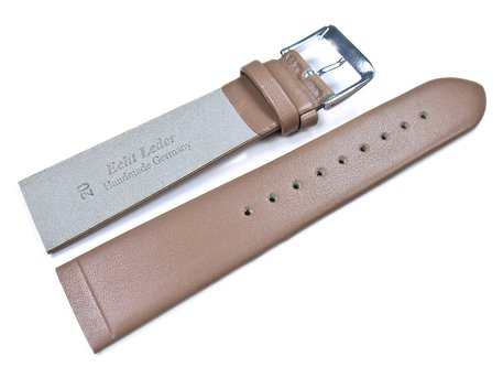 Screw Type Light Brown Leather Watch Strap