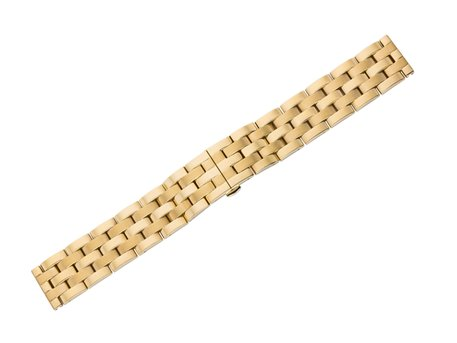 Gold tone metal watch band - Butterfly - Solid - polished and brushed