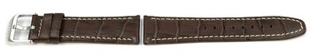 Lotus brown leather watch band for 15536, crocodile print...
