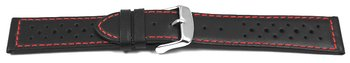Watch strap - genuine leather - Style - black red stitch