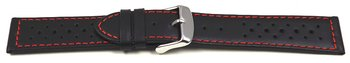Watch strap - genuine leather - Style - black red stitch...