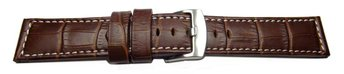 Watch strap - genuine leather - croco - dark brown white...