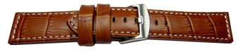 Watch strap - genuine leather - croco - light brown