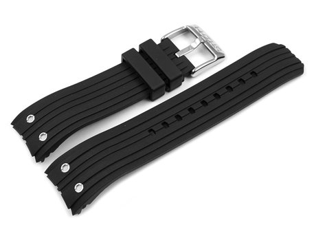 Black Rubber Lotus Watch Strap with rivets for 15969