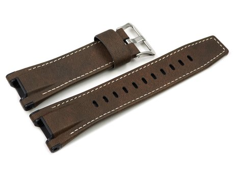 Casio Replacement Brown Leather Watch Strap for GST-W130L, GST-W130L-1