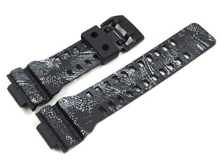 Casio Black and White textile-like patterned Resin Replacement Watch Strap for GA-110TX