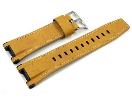 Genuine Casio Replacement Beige Leather Watch Strap for GST-W120L, GST-W120L-1B