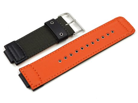 Genuine Casio Leather Cloth Watch Strap for GW-7900MS-3, GW-7900MS, inside orange