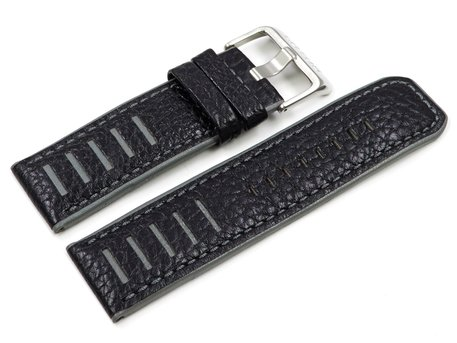 Lotus Black Grey Leather Replacement Watch Strap for 15532/3