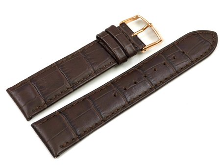 Dark Brown Leather Watch Strap Lotus for 15963