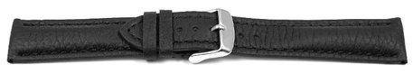 Watch strap - strong padded - Deer Leather - black - Soft and very flexible