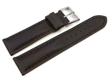 Watch strap - strong padded - Deer Leather - dark brown - Soft and very flexible