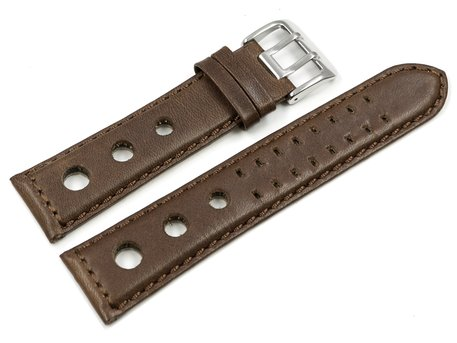 Watch strap - Genuine leather - perforated - Vegetable tanned - brown - Model BIO