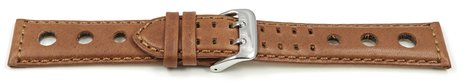 Watch strap - Genuine leather - perforated - Vegetable tanned - light brown - Model BIO