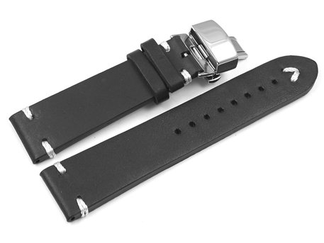 Watch strap - Genuine leather - Soft Vintage - black - Butterfly-Clasp
