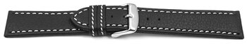 Watch strap - genuine leather - black - white stitching...