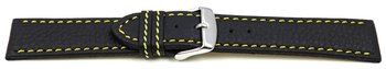 Watch strap - genuine leather - black - yellow stitching...