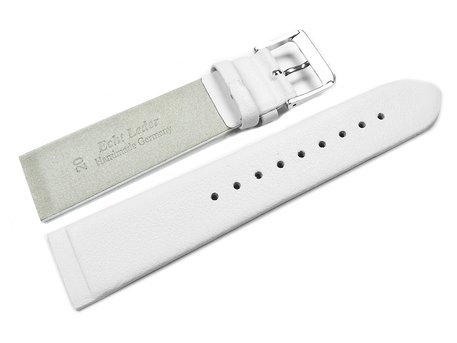 White Leather Watch Band with Gold Tone Buckle - suitable for SKW2139