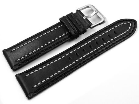c731e8d9d310 Lotus Replacement Watch Strap 15544 15544/1 15544/3 - Black leather white  stitching