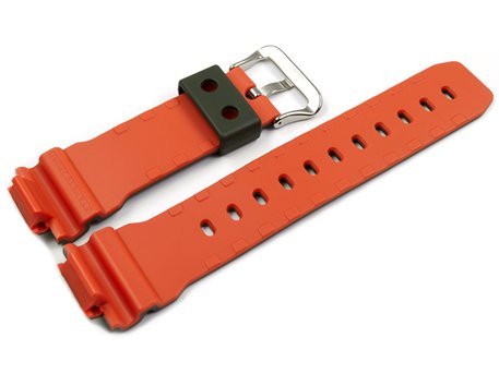 Genuine Casio Replacement Olive Green Watch Strap for DW-6900LU-3 inner side orange