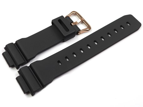 Casio Black Watch strap with Rose Gold Tone Buckle for DW-9052GBX-1A4