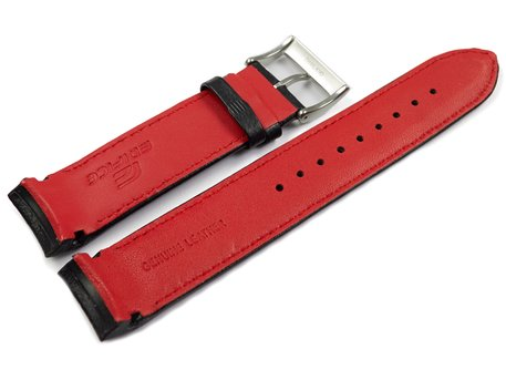 Casio Black Leather Watch Strap with red stitching for EQB-800BL-1A EQB-800BL