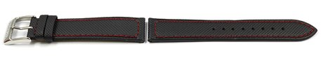 Genuine Festina Black Leather/Cloth Watch Strap with red stitching for F16847/4 F16847