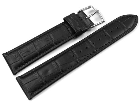 Lotus Black Croc Grained Leather Watch Strap for 18219 suitable for 15798