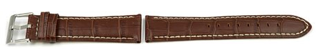 Watch Strap - Lotus - for 15387/3, 15387 - Brown Leather - White Stitching