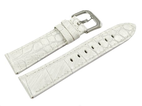 White Leather Watch Strap Lotus for 15745/1 15745  crocodile print