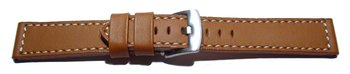 Watch strap - Genuine saddle leather - light brown white...