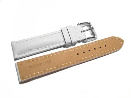 Watch band - strong padded - croco print - white