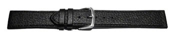 Watch strap - Genuine deer leather - grained - black