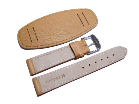 Watch band - Genuine grained leather - with Pad - brown