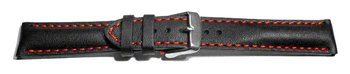 Watch strap - strong padded - smooth - black red stitch