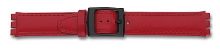 Watch band - Leather - for Swatch - red - 17 mm