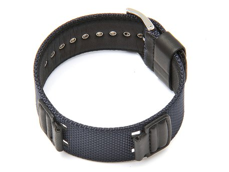 Watch strap Casio for model G-303B, AW-591MS, DW-5600CL Blue CLoth, Black Leather