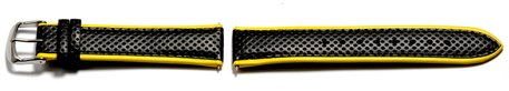 Watch strap Casio for Casio WVQ-550LE,Leather,black w. yellow border