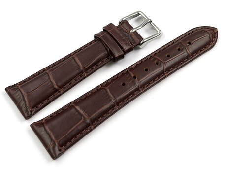 Watch strap - Genuine leather - Croco print - brown - 17,19,20,21,22,23mm