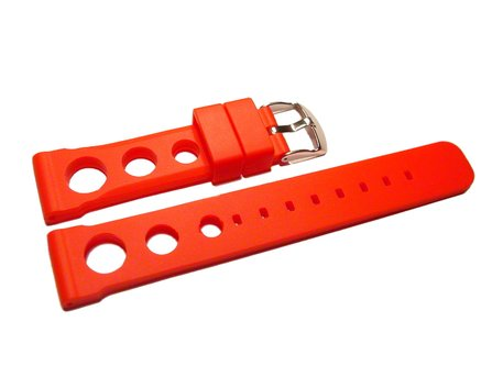 Watch strap - extra strong - Silicone - three holes - red