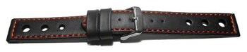 Watch strap - smooth - three holes - black with red stitch