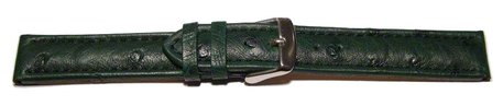 Watch strap - genuine ostrich leather - dark green
