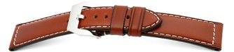 Strong buckle watch strap - Oiled Russian leather - light...