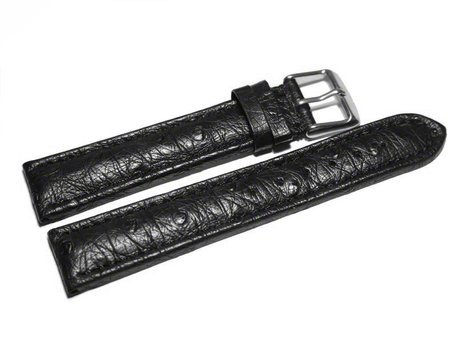 Watch strap - genuine ostrich leather - black