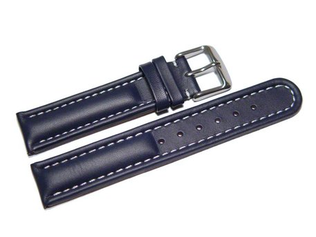 Watch strap - Genuine leather - smooth - dark blue