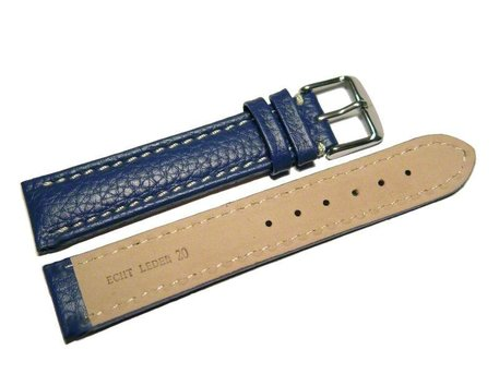 Watch strap - Genuine grained leather - blue