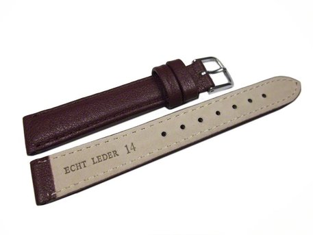 Watch band - genuine leather - smooth - bordeaux