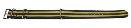 Watch strap - Nato - Nylon - Waterproof - dark blue / yellow