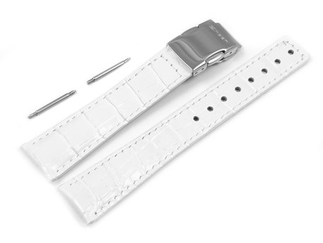 Watch strap Casio for SHN-2013L, SHN-3013L, Leather, white